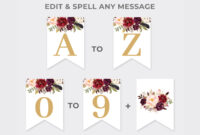 Marsala Party Banner Printable, Burgundy Floral Party Pennant, Bridal  Shower Banner Template, Red And Gold Banner Instant Download Mar1 pertaining to Bridal Shower Banner Template