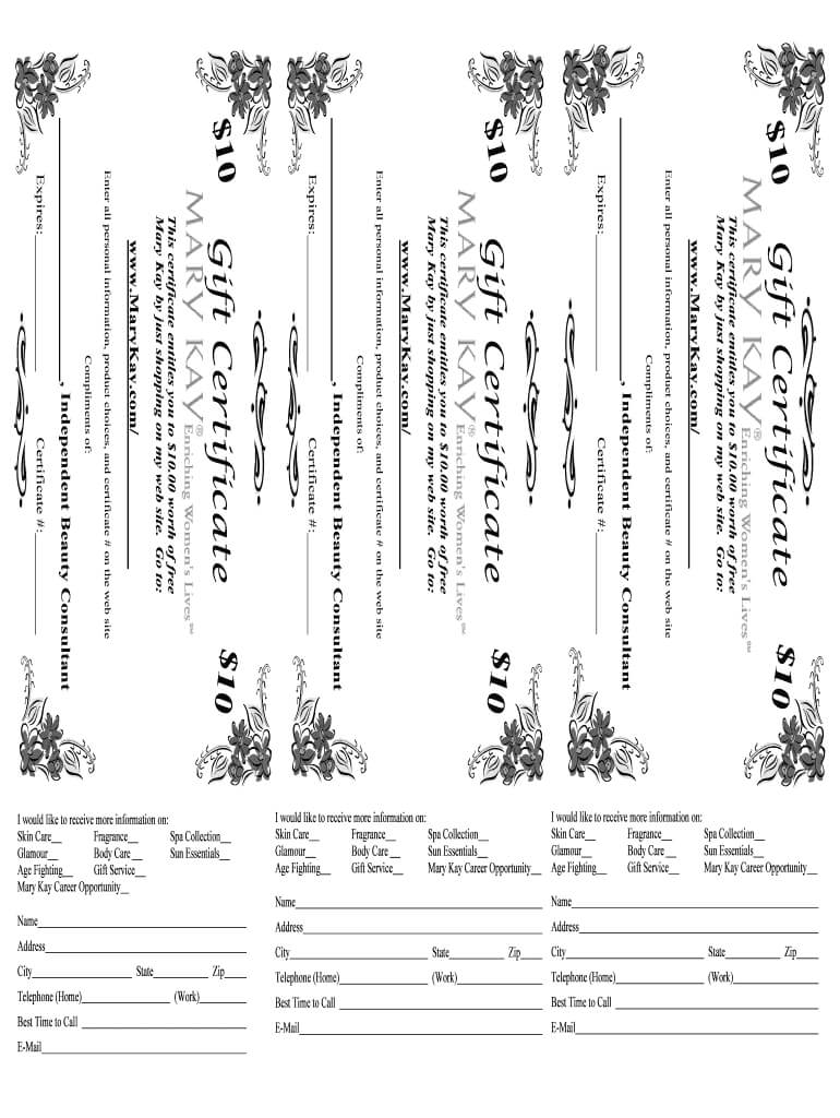 Mary Kay Gift Certificate Printable - Fill Online, Printable with regard to Mary Kay Gift Certificate Template
