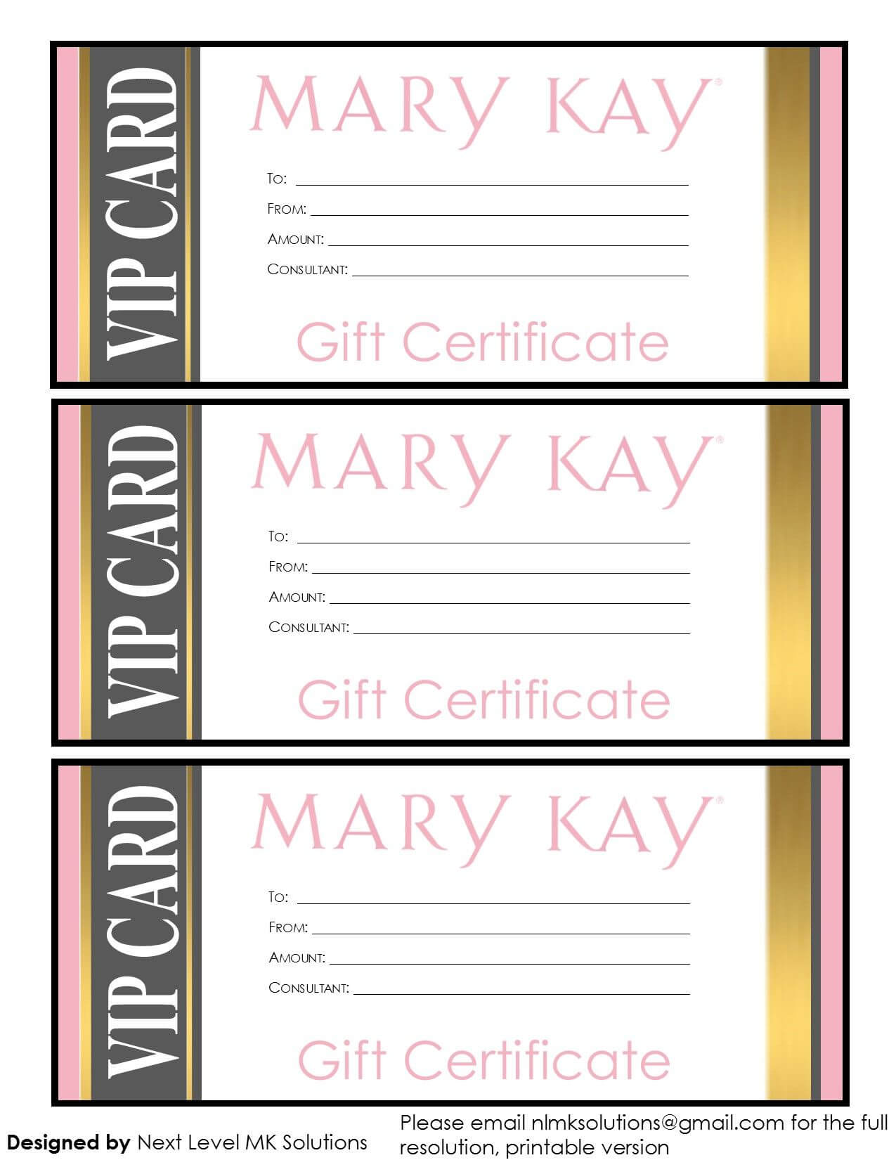 Mary Kay Gift Certificates - Please Email For The Full Pdf With Mary Kay Gift Certificate Template