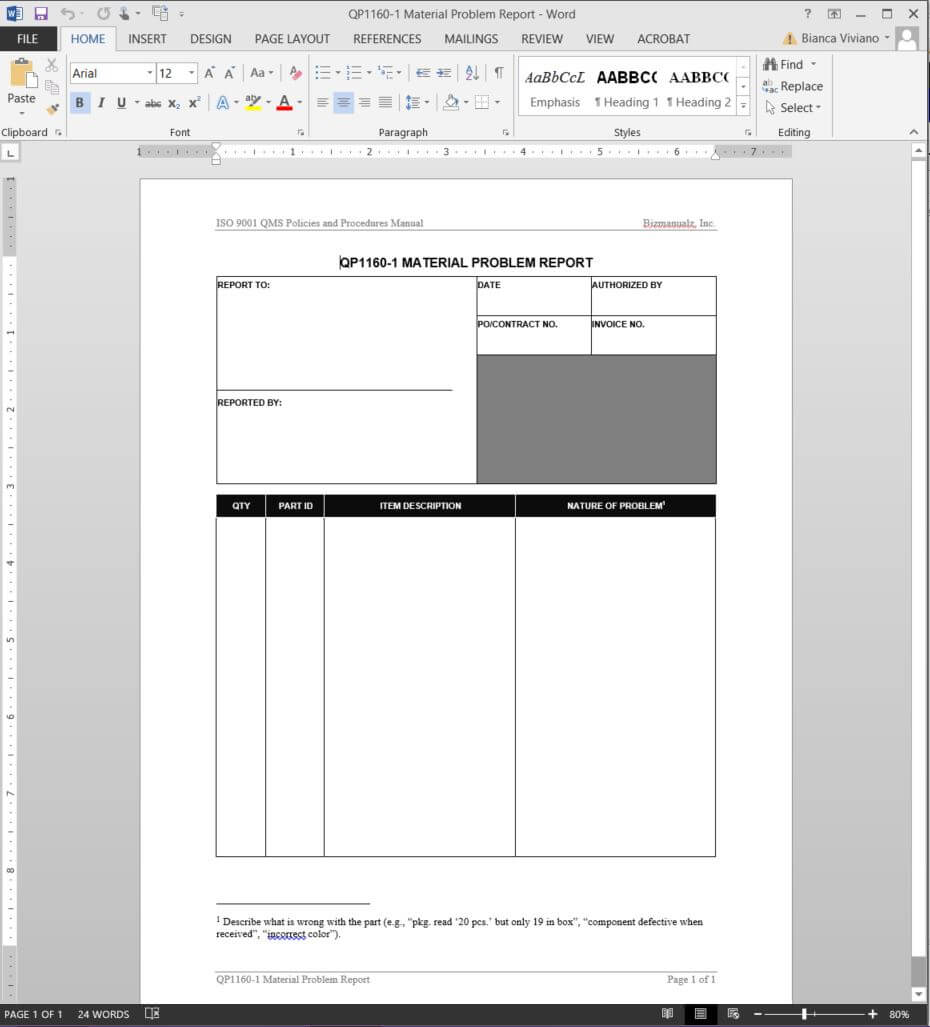 Material Problem Report Iso Template | Qp1160 1 For Software Problem Report Template