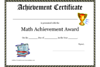 Math Achievement Award Printable Certificate Pdf | Award throughout Teacher Of The Month Certificate Template