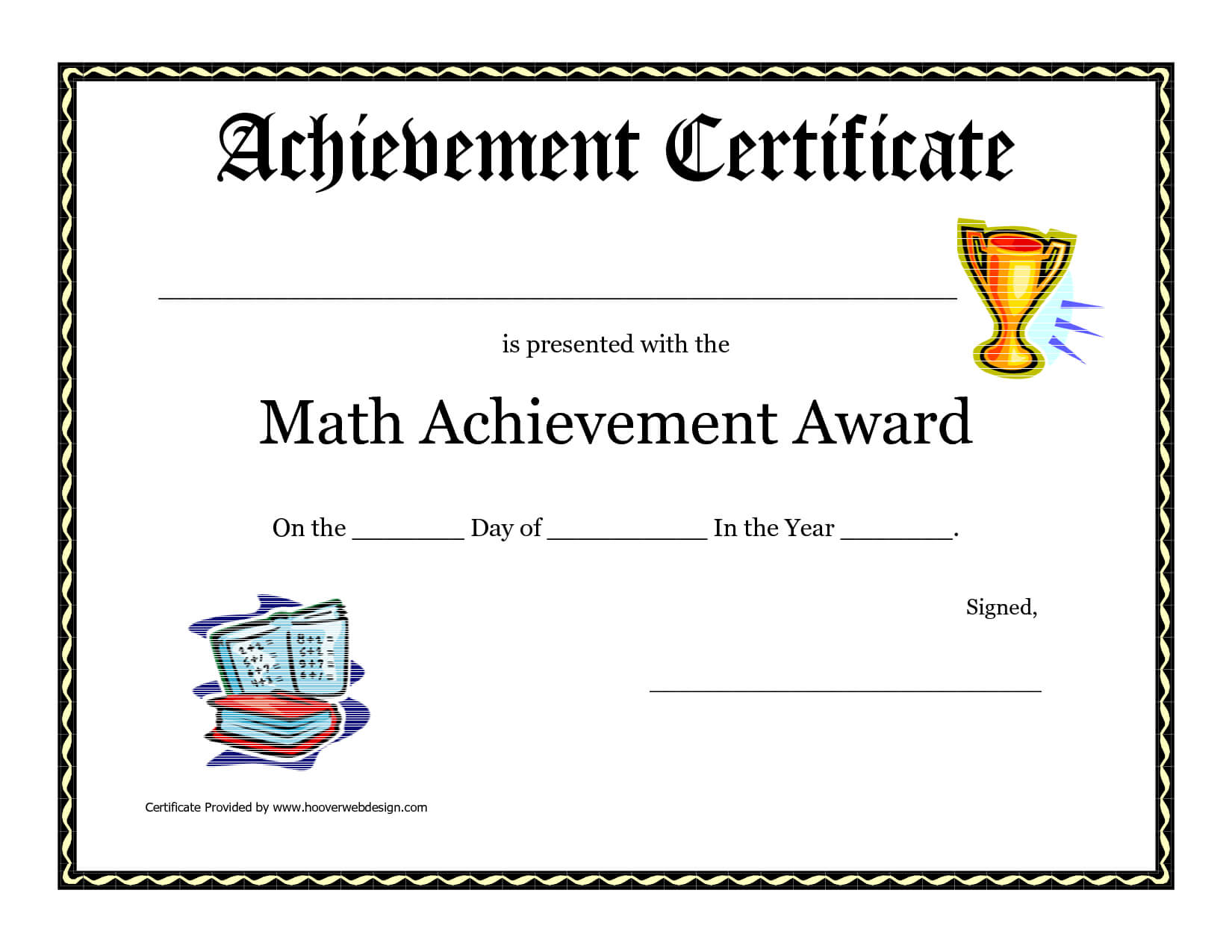 Math Achievement Award Printable Certificate Pdf | Award With Regard To Math Certificate Template