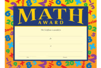 Math Award Gold Foil Stamped Certificates Intended For Math Certificate Template