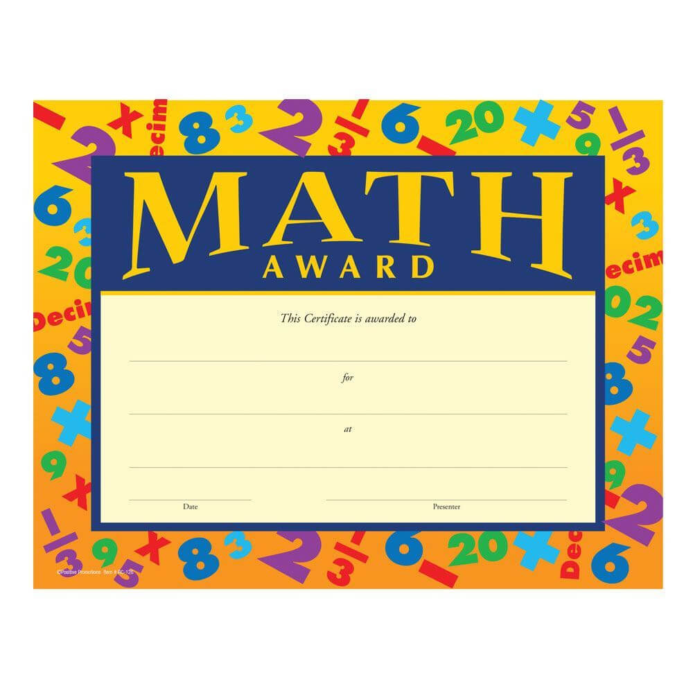 Math Award Gold Foil-Stamped Certificates intended for Math Certificate Template