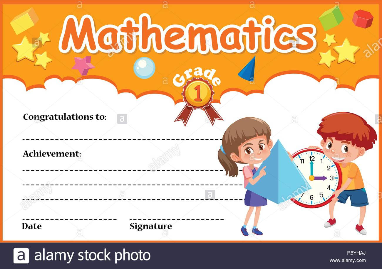 Mathematics Diploma Certificate Template Illustration Stock Intended For Math Certificate Template