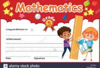 Mathematics Diploma Certificate Template Illustration Stock With Math Certificate Template