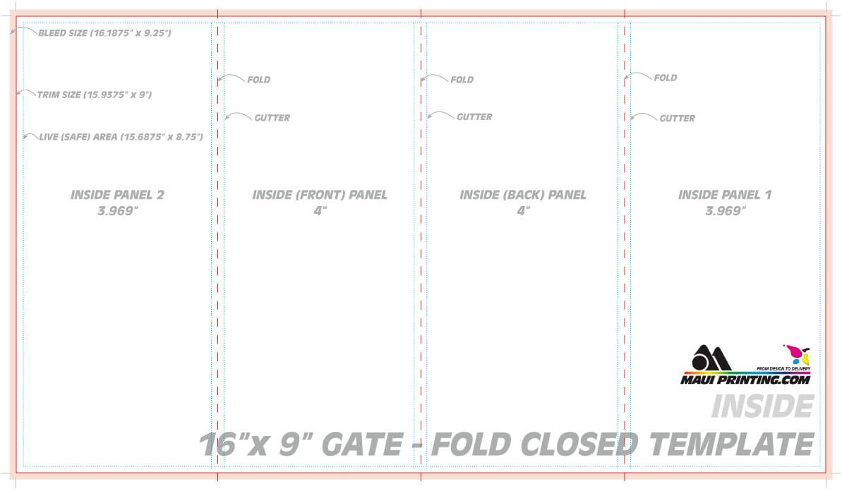 Maui Printing Company Inc 16 9 Gate Fold Brochure 4 Template for Quad Fold Brochure Template