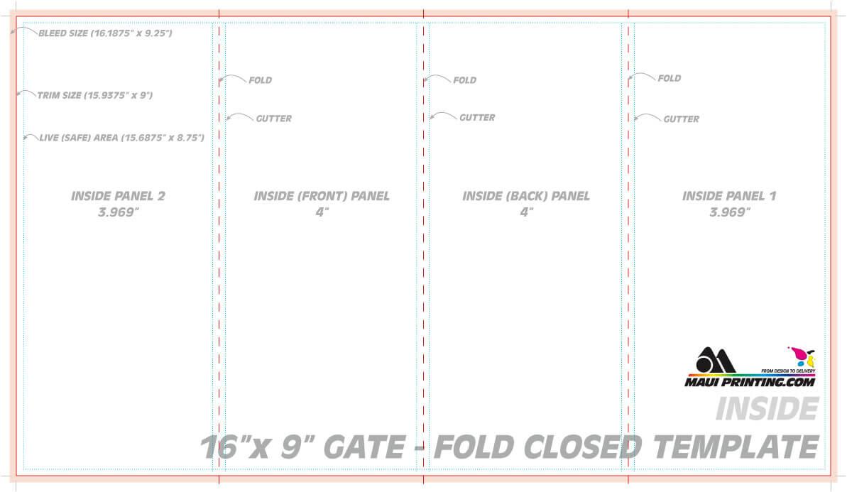 Maui Printing Company Inc 16 9 Gate Fold Brochure 4 Template with regard to Gate Fold Brochure Template Indesign