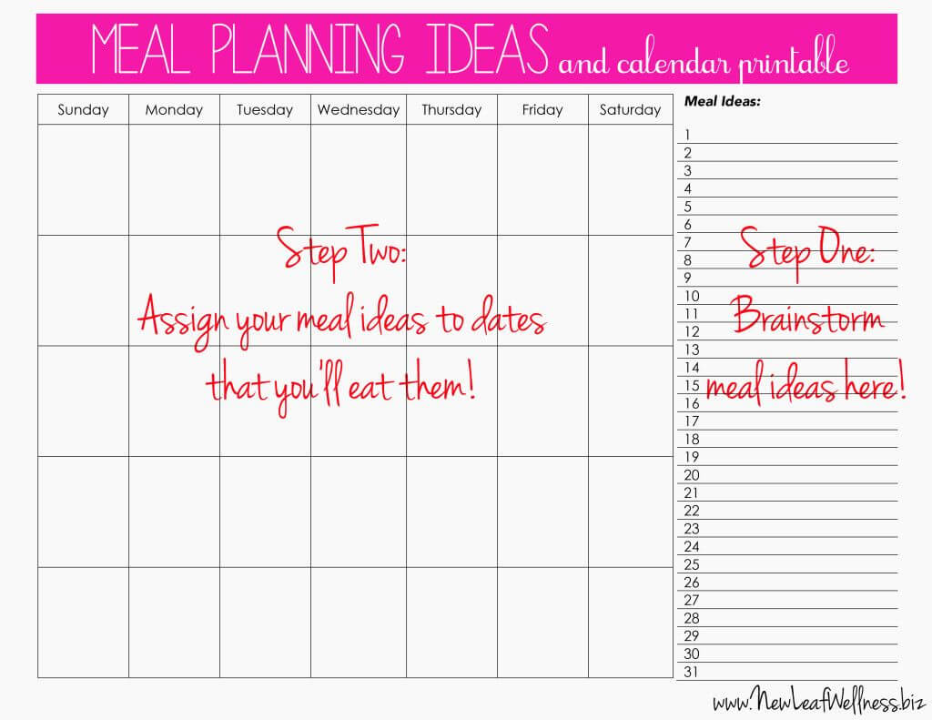 Meal Plan For Two Weeks And Only Grocery Shop Once | Meal with Menu Planning Template Word