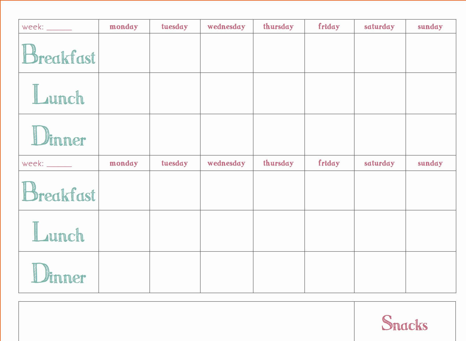 Meal Plan Template Word Unique Free Download Weekly Meal With Weekly Meal Planner Template Word