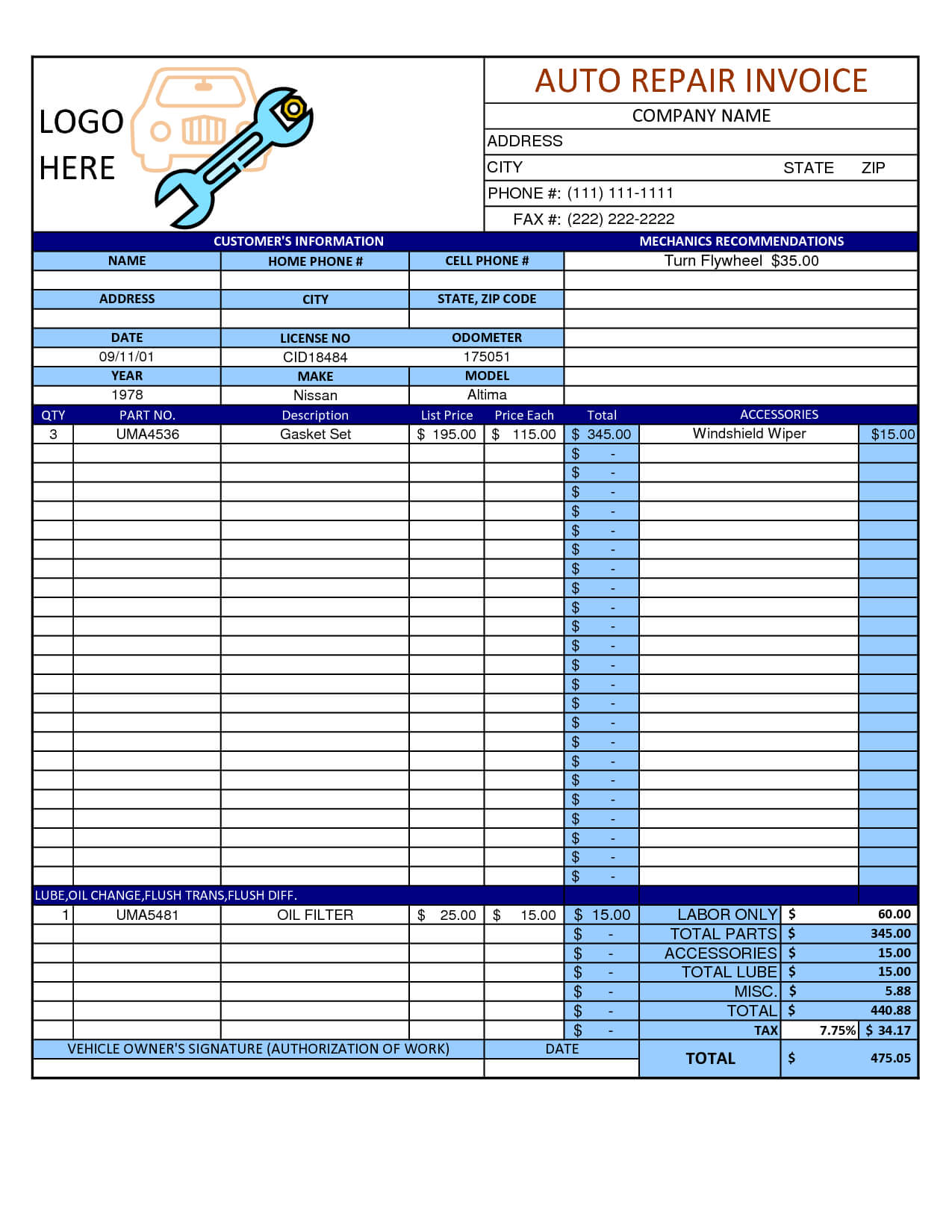 Mechanic Shop Invoice | Scope Of Work Template In 2019 in Job Card Template Mechanic