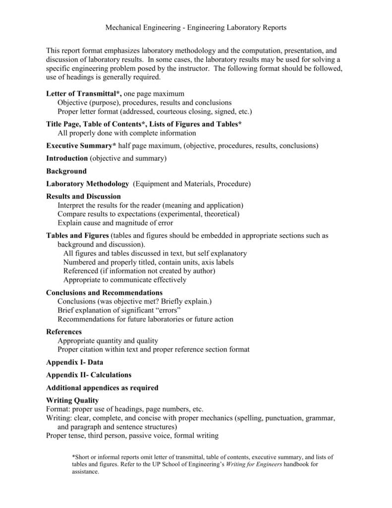 Mechanical Engineering - Engineering Laboratory Reports This with Engineering Lab Report Template