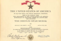 Medals throughout Army Good Conduct Medal Certificate Template