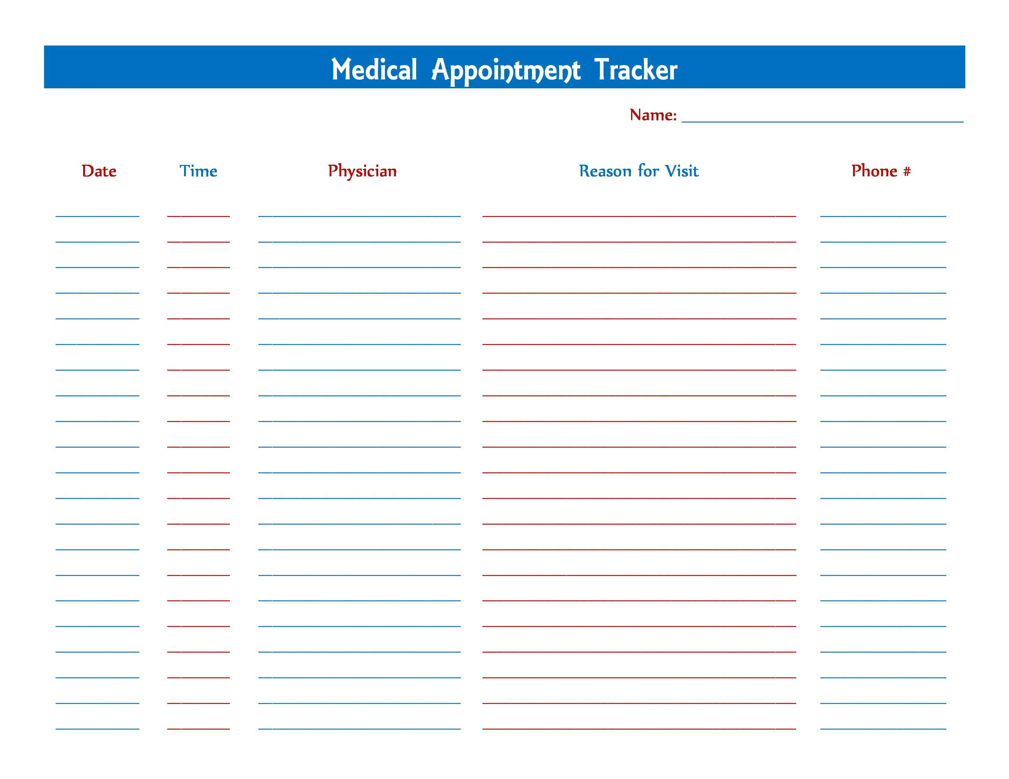 Medical Appointment Tracker | Medical Help, Medical, Getting regarding Medical Appointment Card Template Free