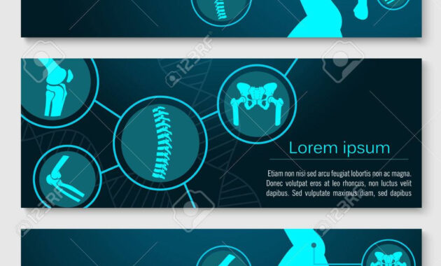 Medical Banner Template Set With Human Skeleton Bones. in Medical Banner Template