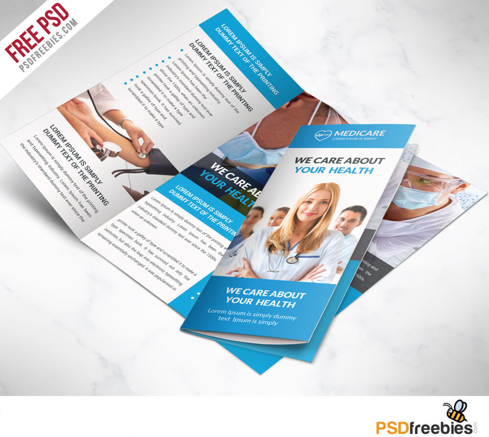 Medical Care And Hospital Trifold Brochure Template Free Psd with regard to Brochure Psd Template 3 Fold