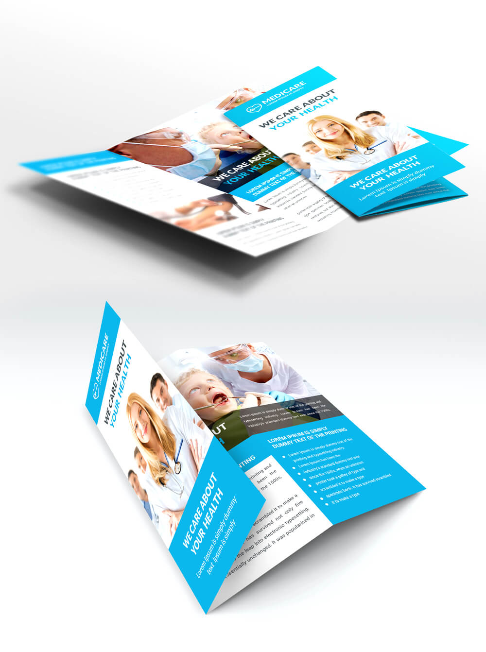 Medical Care And Hospital Trifold Brochure Template Free Psd Within Medical Office Brochure Templates