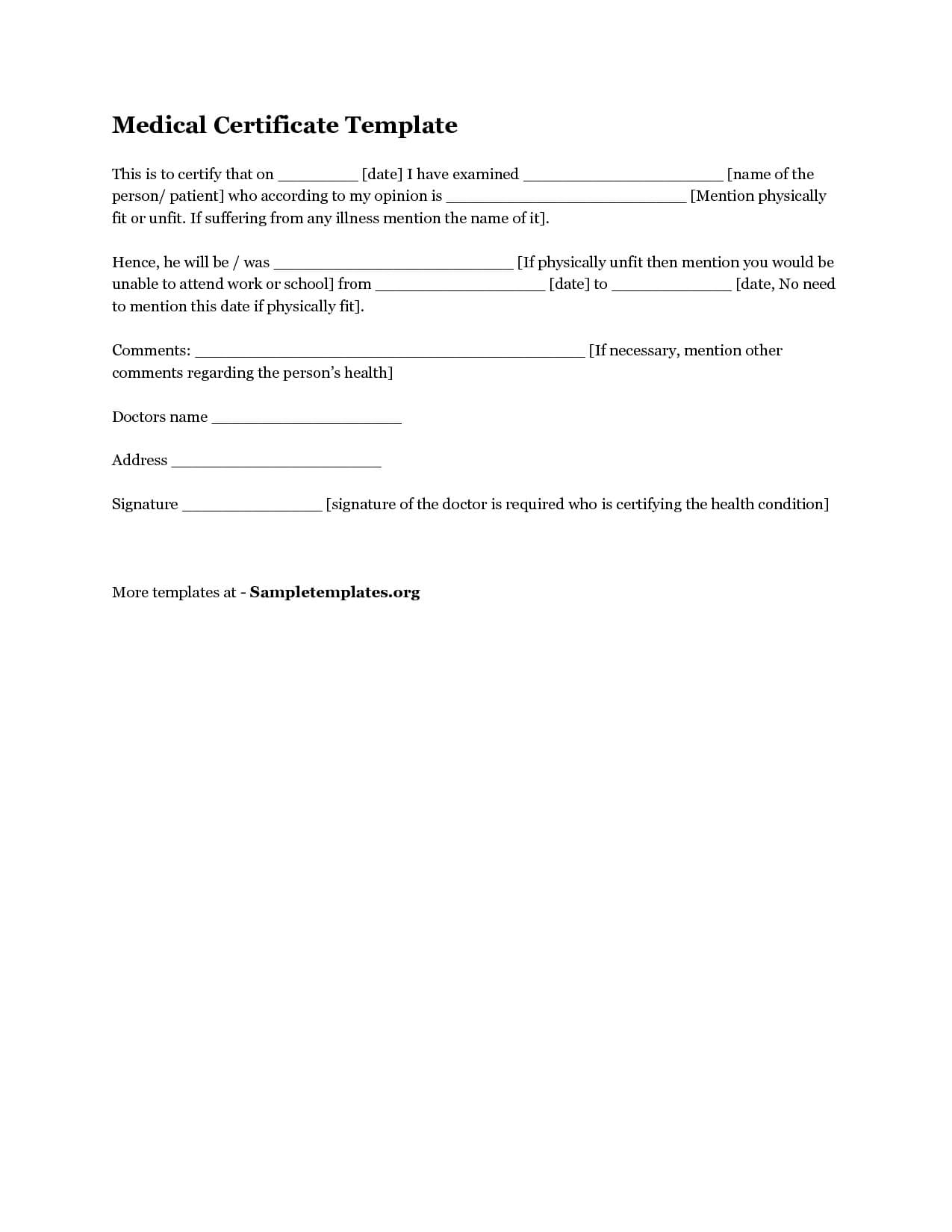 Medical Certificate Australia Template – Yupar.magdalene With Australian Doctors Certificate Template