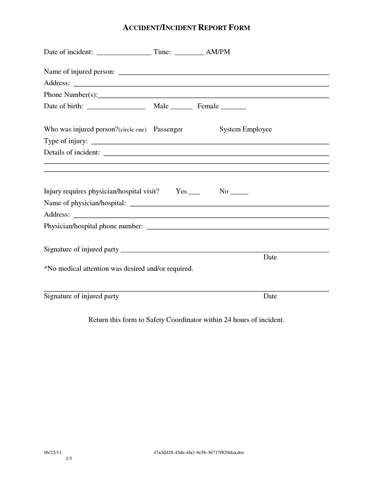 Medical Incident Report Form Template With Medical Report Template Free Downloads