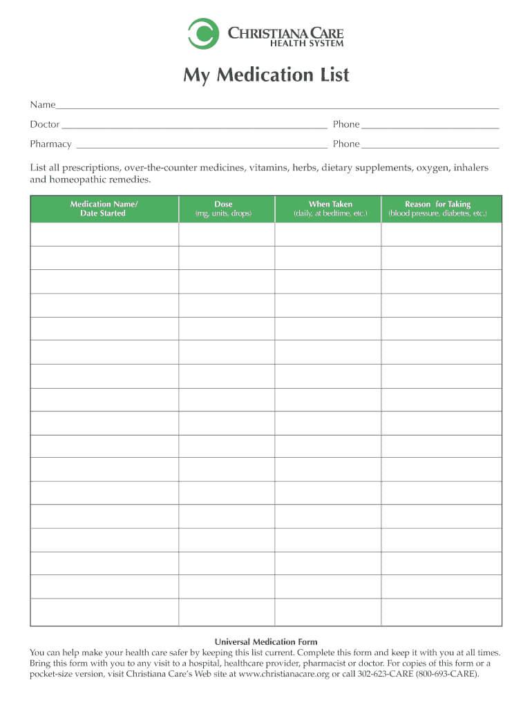 Medication List Form - Fill Online, Printable, Fillable Inside Blank Medication List Templates