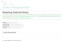 Meeting Debrief Evernote Templates | Evernote Template inside Event Debrief Report Template