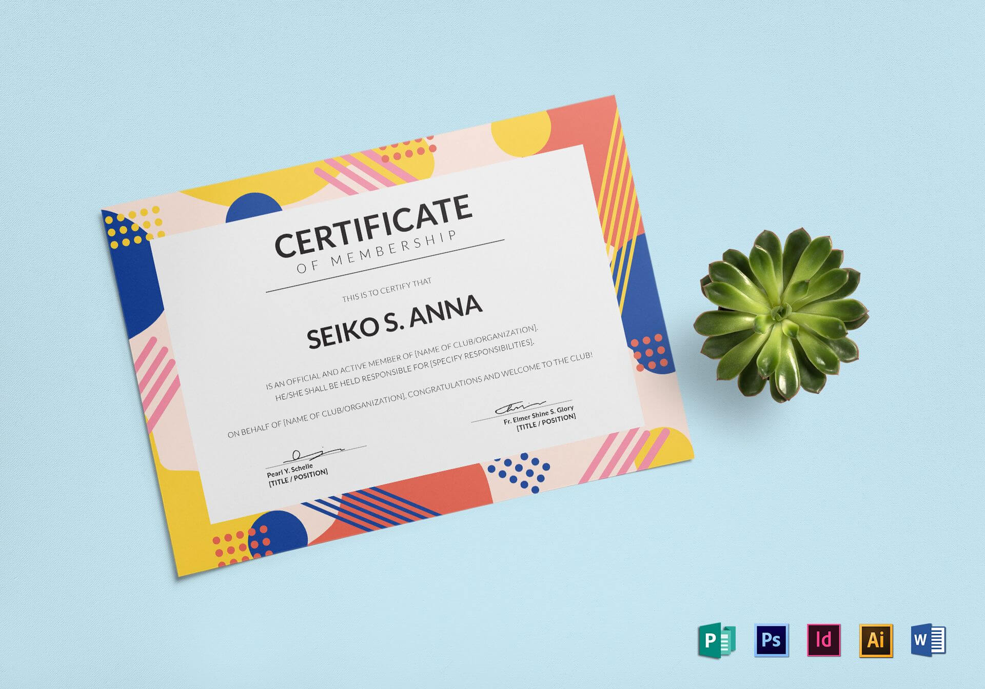 Membership Certificate Template With Indesign Certificate Template