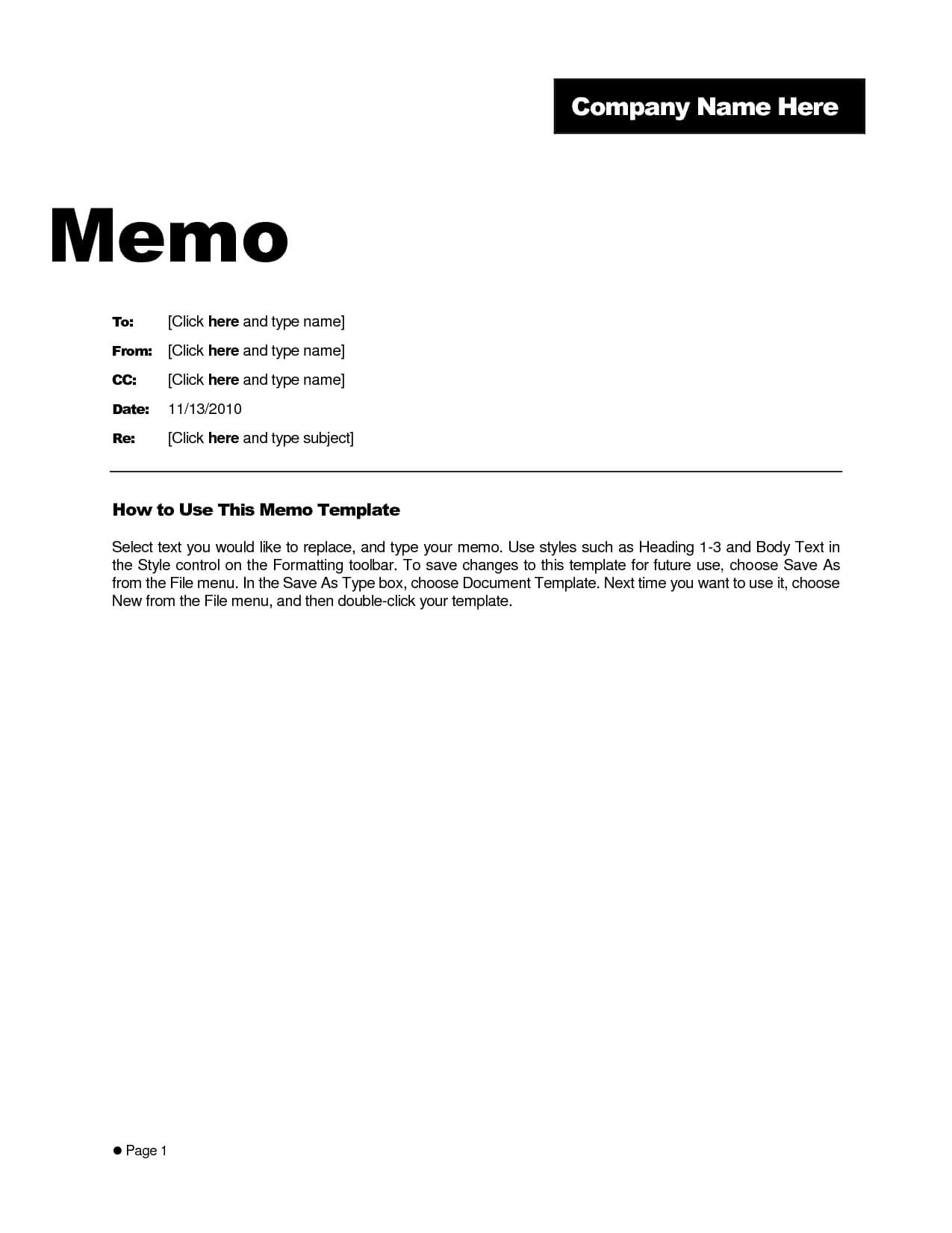 Memo Template Word 2010 - Cumed For Memo Template Word 2010