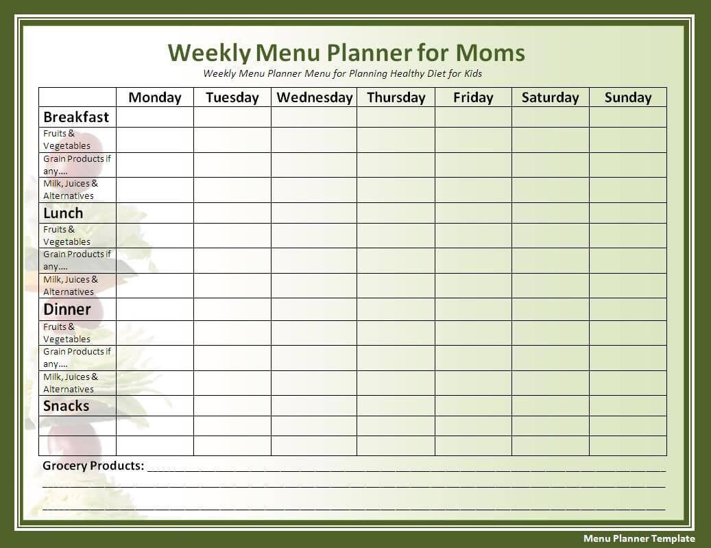 Menu Planner Template In 2019 | Menu Planners, Menu Planning With Meal Plan Template Word