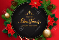 Merry Christmas Banner With Christmas Tree Branches And Poinsettia.. within Merry Christmas Banner Template