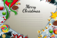 Merry Christmas Card Template With Present And pertaining to Adobe Illustrator Christmas Card Template