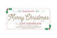 Merry Christmas Gift Certificate – Gift – Christmas – Gift Certificate –  Holidays – Giving – Presents – Gift Card – Simply Inspired with Merry Christmas Gift Certificate Templates