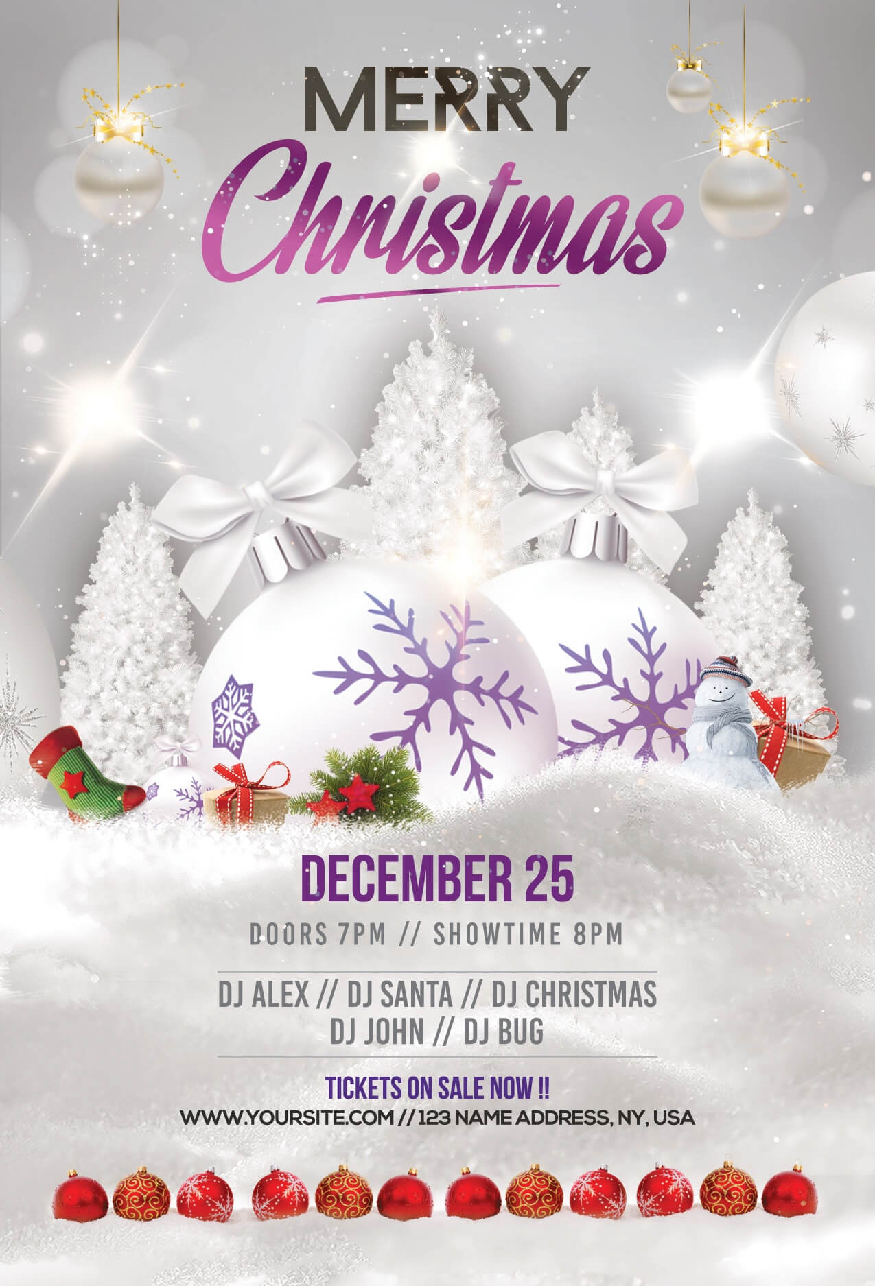 Merry Christmas & Holiday Free Psd Flyer Template - Free Psd throughout Christmas Brochure Templates Free