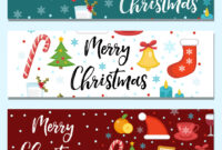 Merry Christmas Set Of Banners Template With regarding Merry Christmas Banner Template