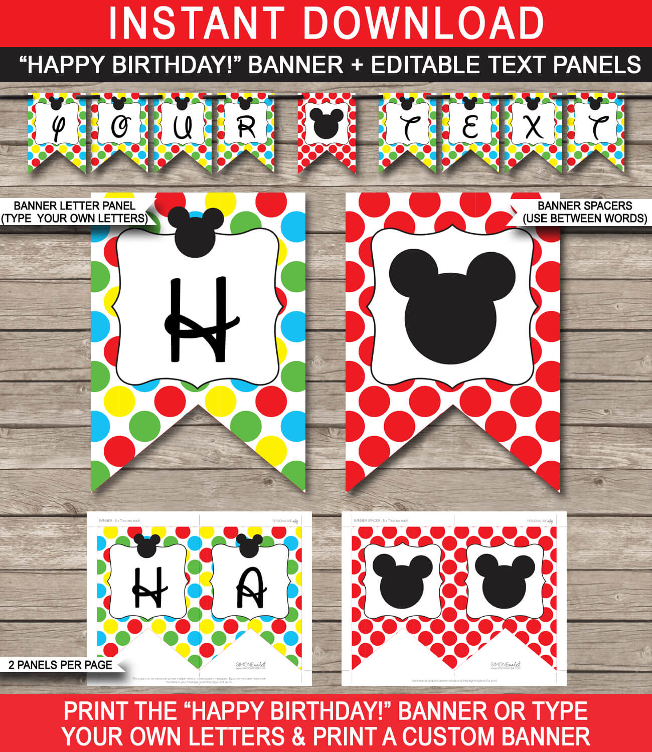 Mickey Mouse Party Banner Template pertaining to Diy Banner Template Free