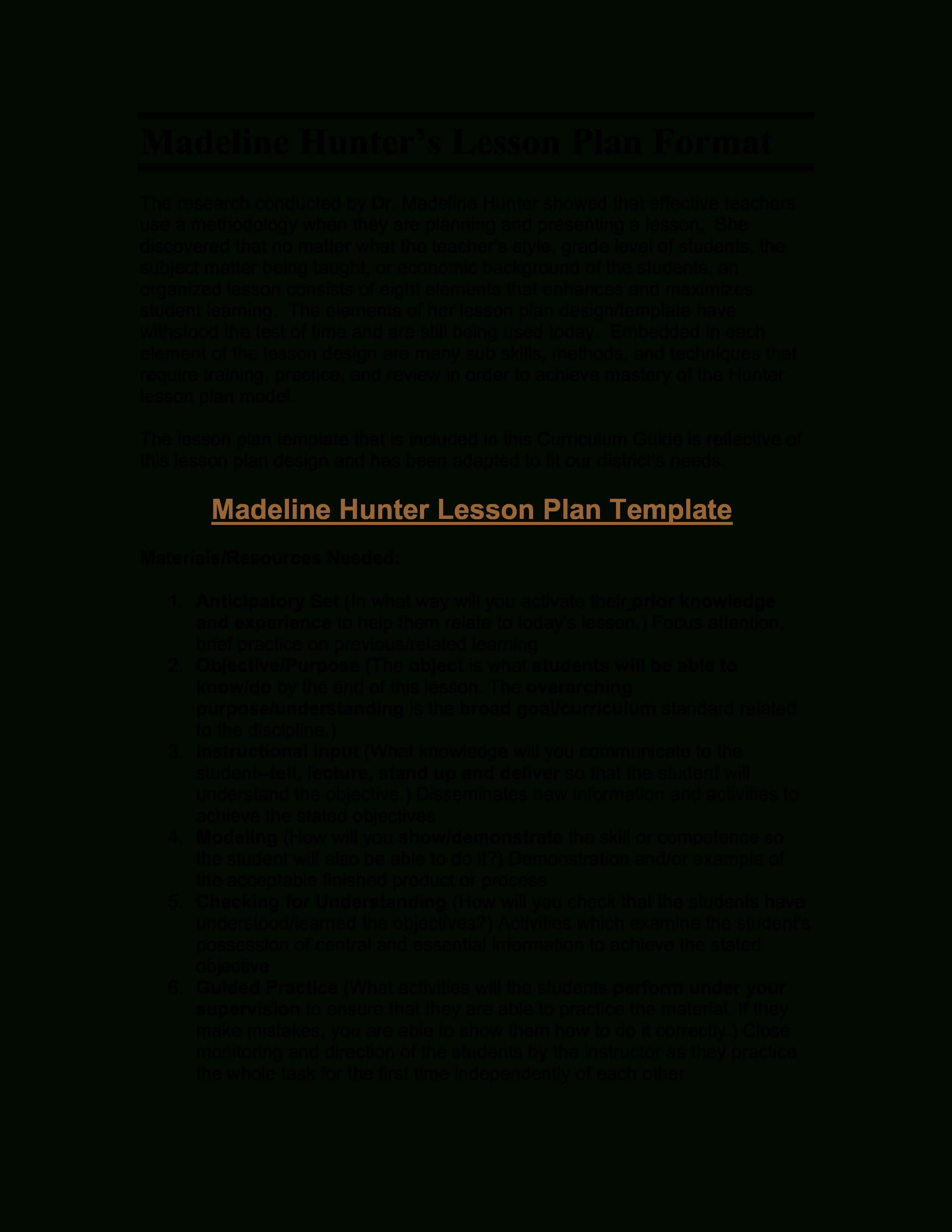 Microsoft Word - Madeline Hunter's Lesson Plan Format pertaining to Madeline Hunter Lesson Plan Template Blank