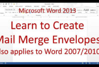 Microsoft Word Mail Merge Envelope (Word 2013/2016) for Word 2013 Envelope Template