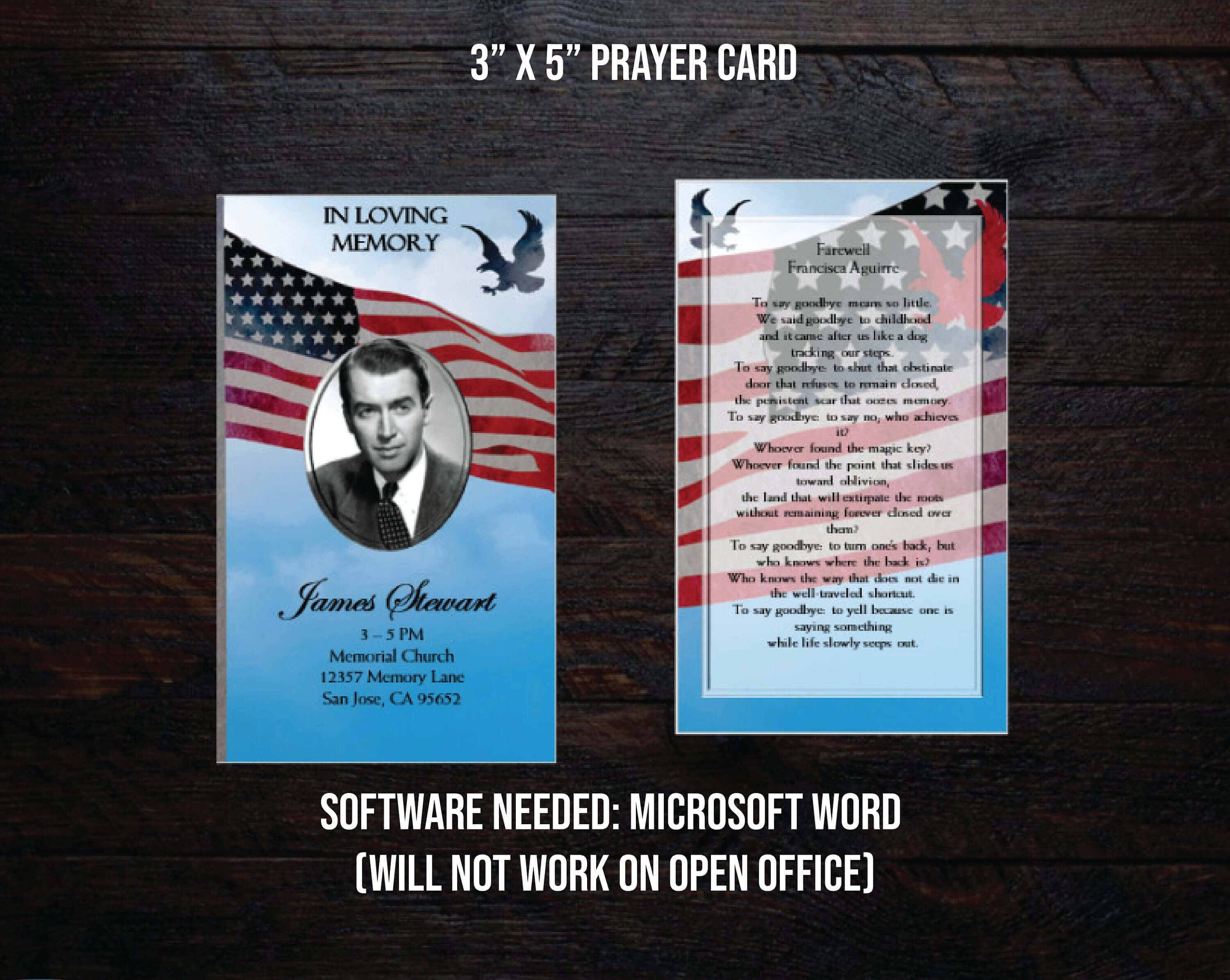 Microsoft Word Template Funeral Prayer Card | Memorial Prayer Card|  Editable Text | Us Flag | Military Men | Eagle in Prayer Card Template For Word
