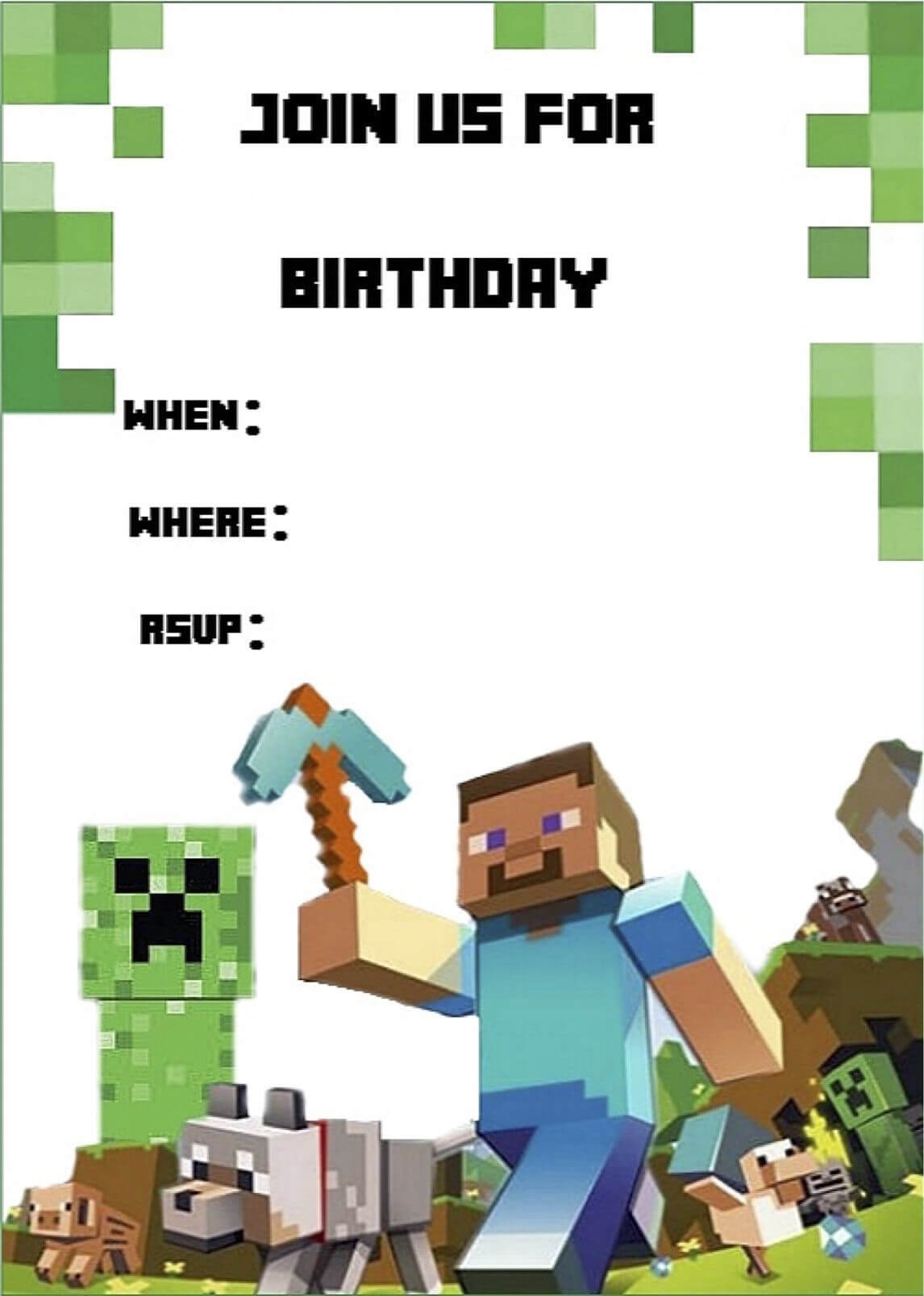 Minecraft Invite | Minecraft Party | Minecraft Birthday for Minecraft Birthday Card Template