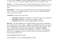 Mini Lab Report Format: Title – Should Include An Original with regard to Lab Report Template Word