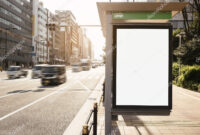 Mock Up Banner Template At Bus Shelter Media Outdoor Display intended for Street Banner Template