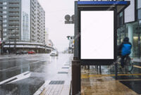 Mock Up Billboard Banner Template At Bus Shelter Media within Street Banner Template