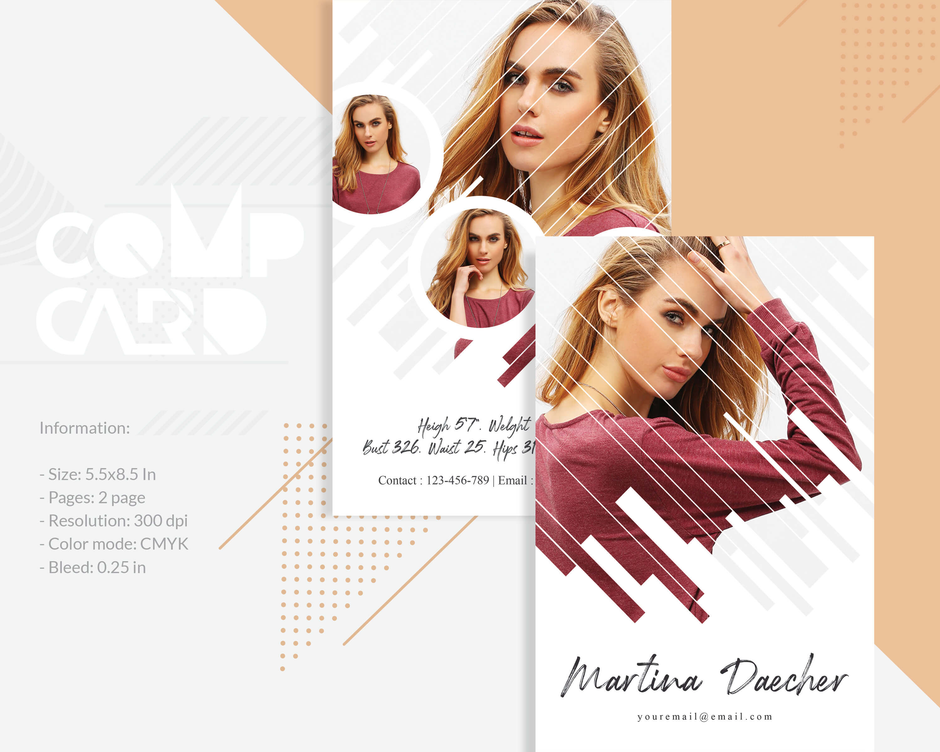 Model Comp Card Template | Modeling Comp Card | Fashion Card | Ms Word,  Photoshop And Elements Template | Instant Download in Comp Card Template Download