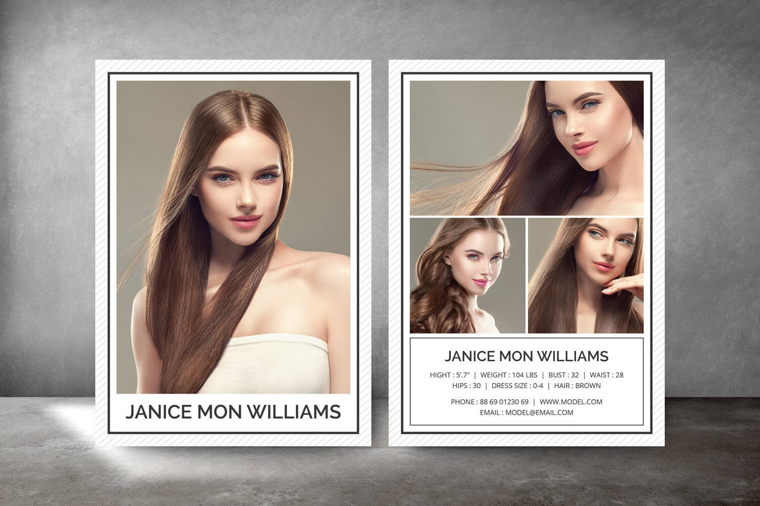 Modeling Comp Card, Fashion Model Comp Card, Comp Card Template, Photoshop  And Elements Template, Instant Download with regard to Comp Card Template Download