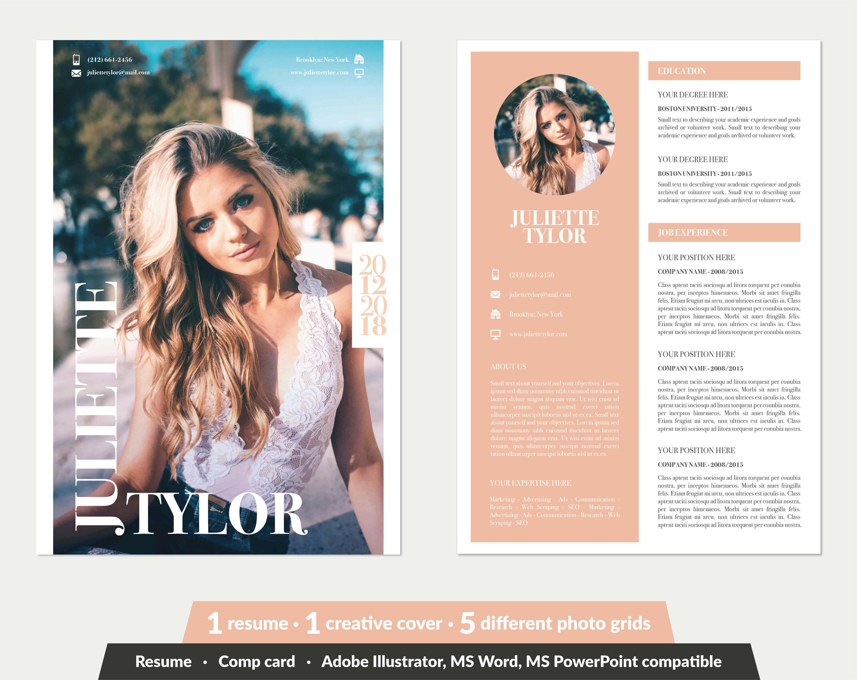 Modeling Comp Card | Fashion Model Comp Card Template (5 Different Grid  Layout) | Word, Powerpoint, Illustrator | Instant Download with Comp Card Template Download