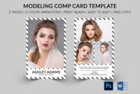Modeling Comp Card | Model Agency Zed Card | Photoshop Intended For Free Zed Card Template