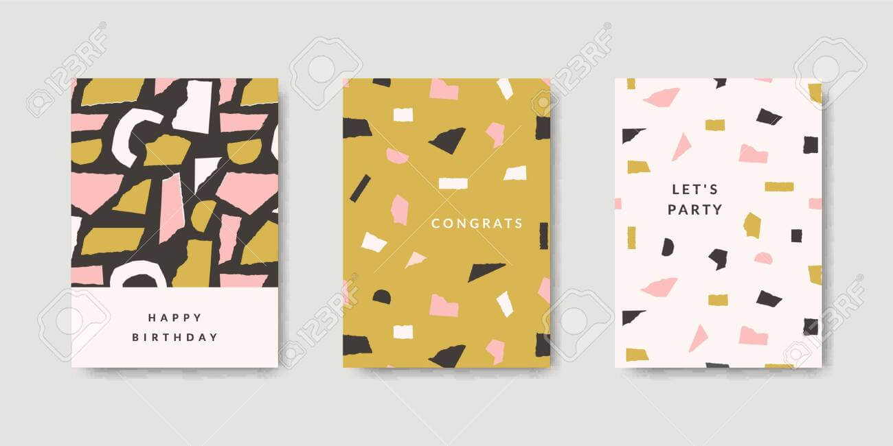 Modern And Playful Greeting Card Templates With Paper Cut Out.. in Birthday Card Collage Template