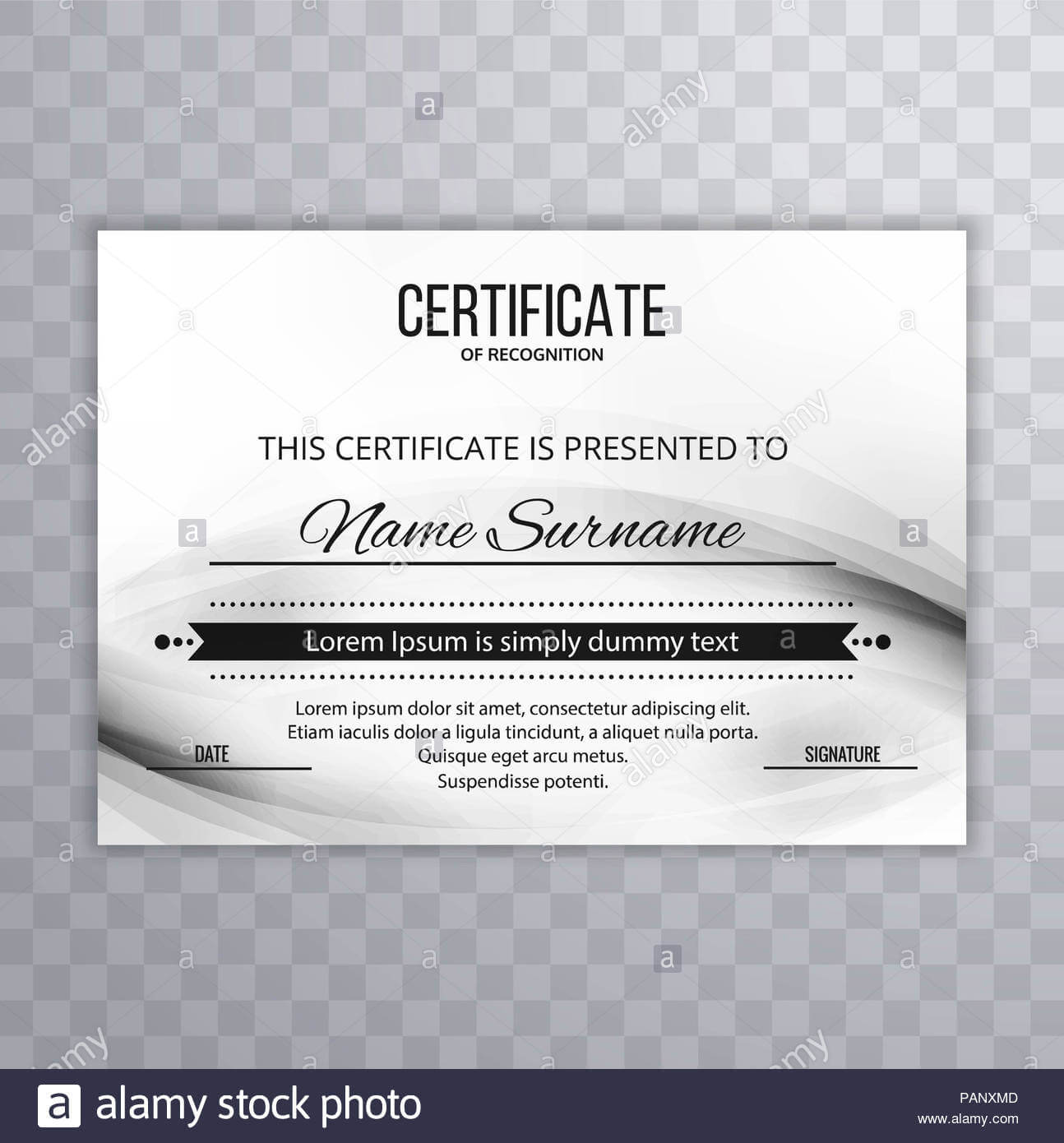 Modern Certificate Template Design Stock Photo: 213152925 with Borderless Certificate Templates