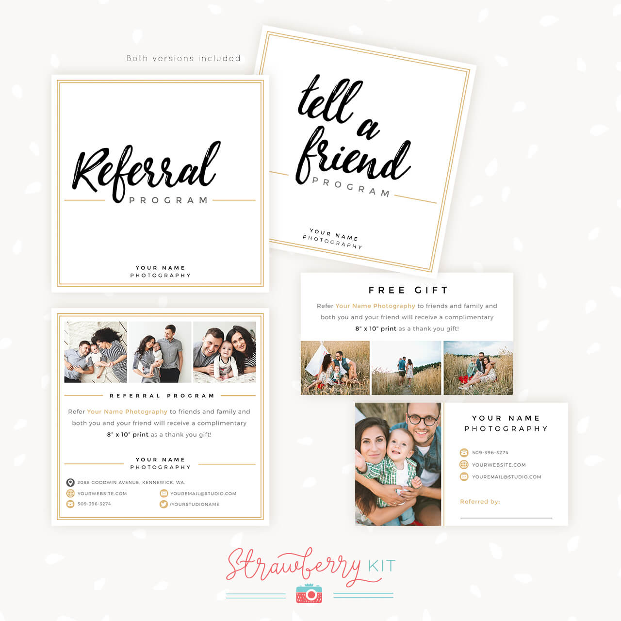 Modern Hand Lettering Referral Card Set - Strawberry Kit for Referral Card Template