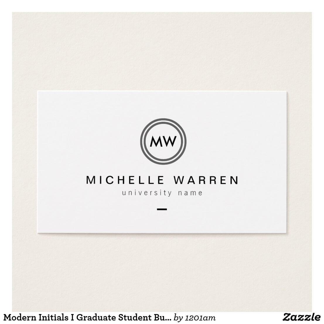 Modern Initials I Graduate Student Business Card   Zazzle Within Graduate Student Business Cards Template