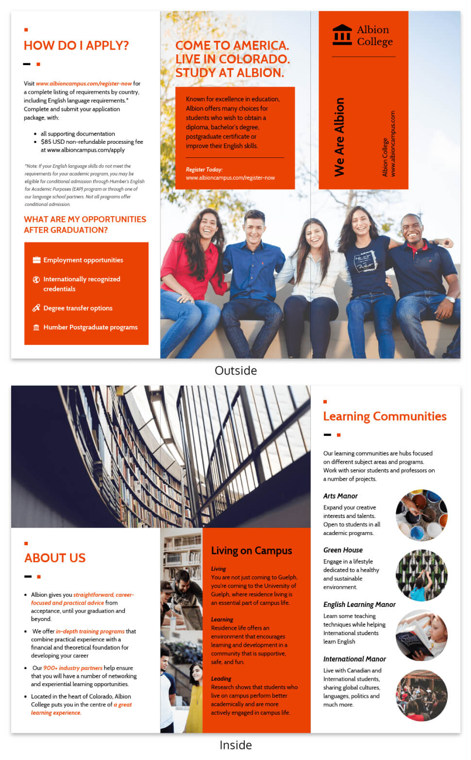 Modern Orange College Tri Fold Brochure Template Template inside Student Brochure Template